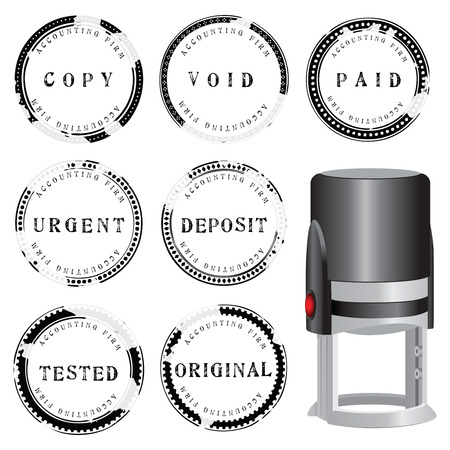 Modern stamp to punching a set of accounting choices. Vector illustration.