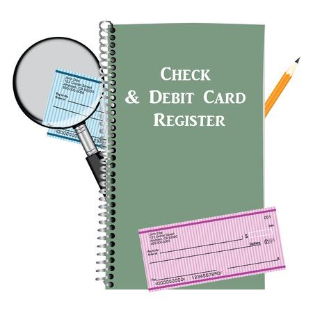 Check and Debit Card Register. Vector illustration.