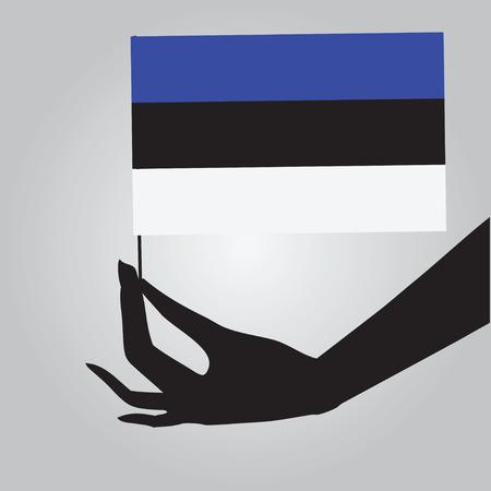 女性の手でエストニアの旗。ベクトルの図。