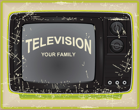 Old card, TV your family. Vector illustration.