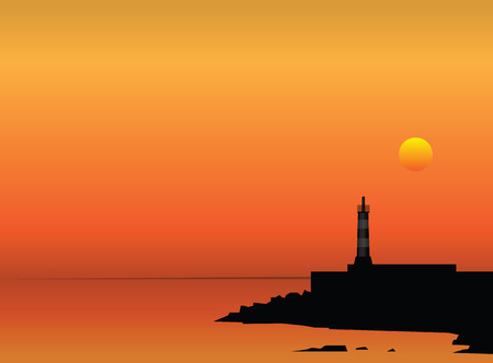 Lighthouse on the coast at sunset. Vector illustration.
