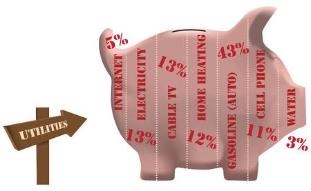 utilities: Utilidades en forma de hucha de cerdo. Vectores