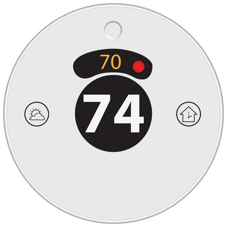 Thermostat to control and adjust the temperature in the house with a wireless connection. Vector illustration. Illustration
