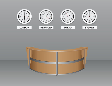 front desk: Interior with an oval table for visitors with time zones. Vector illustration. Illustration