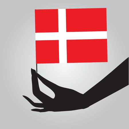 Flag of Denmark in a female hand. Vector illustration.