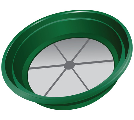 sifting: Bowl for sifting gold from plastic. Vector illustration. Illustration