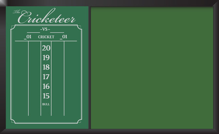 Cricketeer Chalkboard Skorebord with additional information stand. Vector illustration.