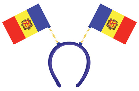 Cheerful headdress for the holiday with flag of Andorra. Vector illustration.