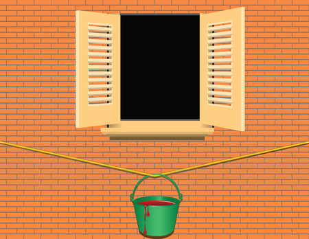A bucket of red paint under the window of the house hanging on a rope. Vector illustration. Çizim