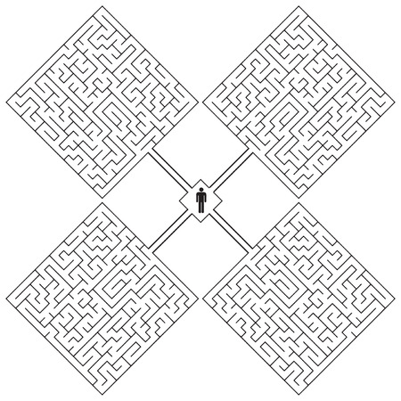disorientated: Creative with a maze on the theme - a hopeless situation. Vector illustration.
