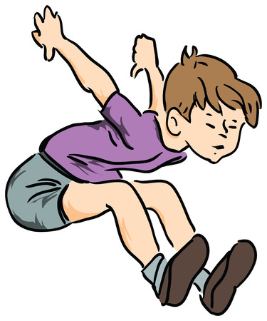 Boy in summer clothes jumping in length. Vector illustration.