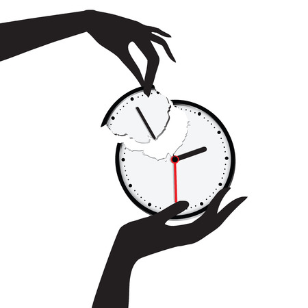 time keeping: Save your time, hand harvested scored a clock face. Vector illustration. Illustration