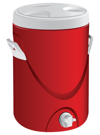 stopcock: Thermos for liquid plastic stopcock at the bottom. Vector illustration. Illustration