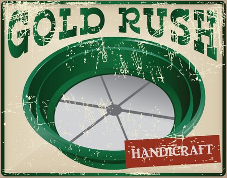gold rush: Sieve for washing gold craft during the gold rush. Vector illustration. Illustration
