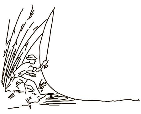 recreational fishermen: Fisherman makes casting gear from the shore. Vector illustration.