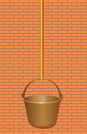Bucket on a rope on the background of a brick wall. Vector illustration. Иллюстрация