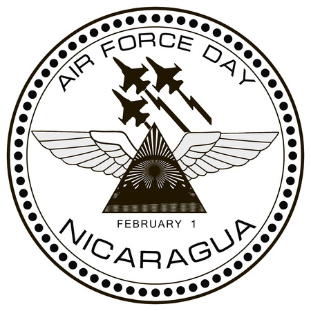 february 1: Air Force symbol of Nicaragua on February 1. Vector illustration.