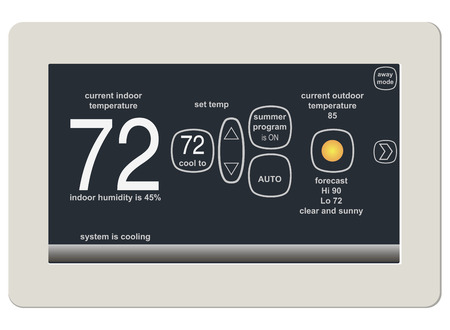 Wireless thermostat for ambient temperature control. Vector illustration.