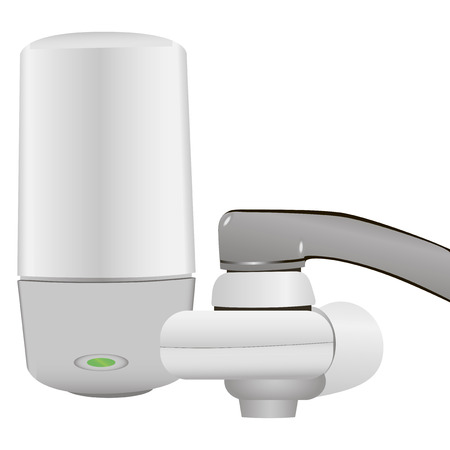 water filter: Household filter faucet connection system. Vector illustration.