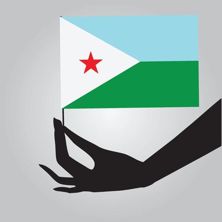 djibouti: Flag of Djibouti in a female hand. Vector illustration.