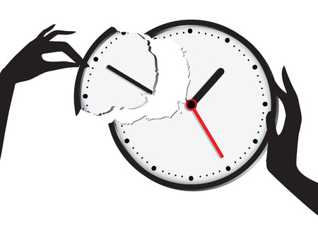 time keeping: Compound broken clock - the union of time and effort. Vector illustration. Illustration