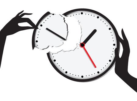 Compound broken clock - the union of time and effort. Vector illustration. Illustration