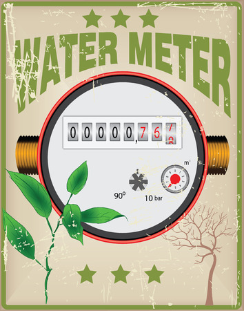 conduit: Creative Card Control of water with a timer counting. Vector illustration. Vector illustration. Illustration