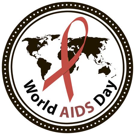 Symbol of World AIDS Day, December 1. Vector illustration. Ilustrace