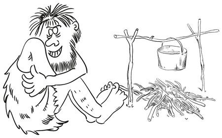 cro magnon: Ancient people around the campfire. Vector illustration.