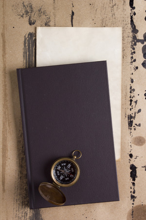 log book: Journal of the compass, the theme of travel. Stock Photo