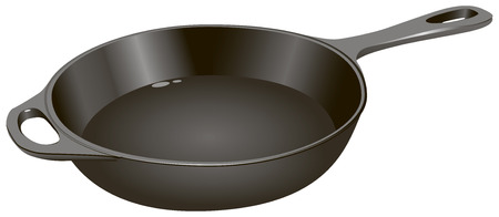 cast iron: The cast-iron frying pan for home use, medium size.  Illustration