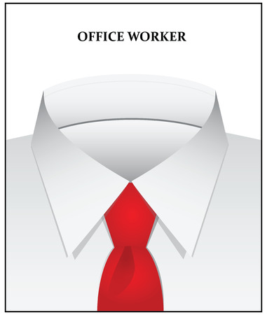 Clothing style office worker - a white shirt and tie. Vector illustration.
