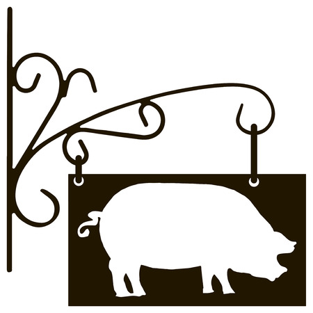 Vintage signboard pig farm specialization. Vector illustration.  イラスト・ベクター素材