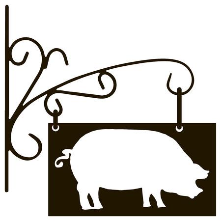 Vintage signboard pig farm specialization. Vector illustration.  イラスト・ベクター素材