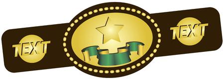 merit: Symbolic championship belt for various sports. Vector illustration. Illustration