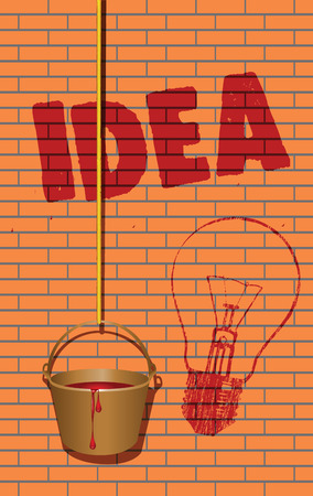 Painted on a brick wall written idea and painted lamp. Vector illustration. Иллюстрация