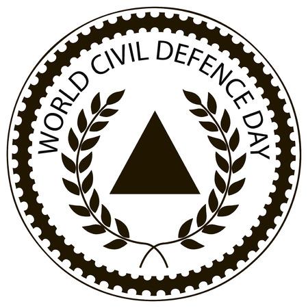 inprint: Symbolic imprint rubber stamp World Civil Defence Day. Vector illustration.