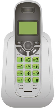 cordless: Classic cordless phone for office and home use. Vector illustration.