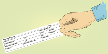 inform information: Personal information for profiles in hand. Vector illustration.
