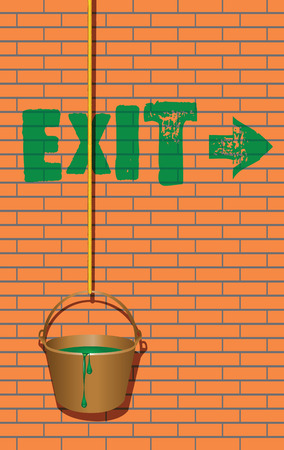 The inscription on the brick wall Exit and a bucket of green paint. Vector illustration.