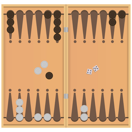 backgammon: Backgammon on the wooden box, two dice and chips for the game. Vector illustration. Illustration