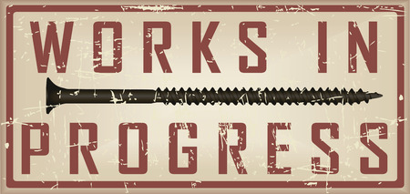 works: Industrial vintage card works in progress with screw. Vector illustration.