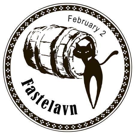 Fastelavn - Festival gehouden in Duitsland en Noorwegen op 2 februari Vector illustratie.