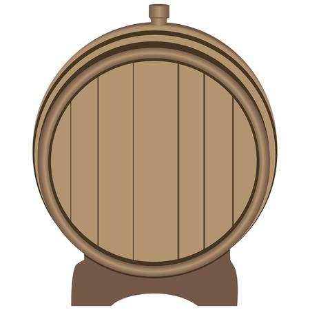 Wooden barrel plugged plug on the stand. Vector illustration. Illustration