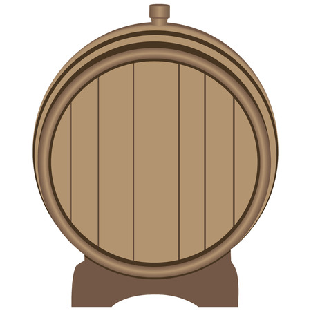 Wooden barrel plugged plug on the stand. Vector illustration. Illustration