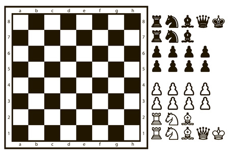 chess set: Chessboard or character set of chess pieces. Vector illustration.