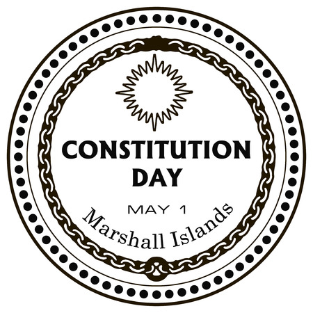constitution day: May 1 of the Constitution Day of the Marshall Islands, the imprint of a rubber stamp. Vector illustration.