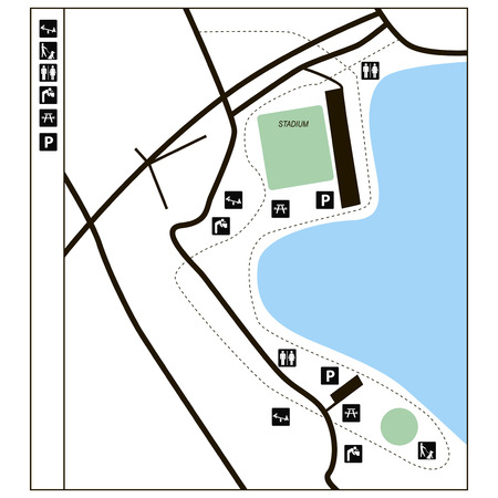 eating area: Example mapping of parkland with a set of related characters. Vector illustration.