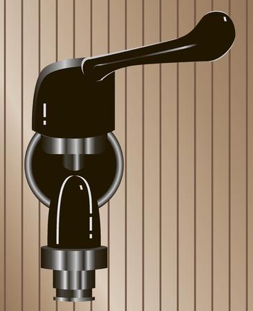 Steel valves with rotary knob. Vector illustration.