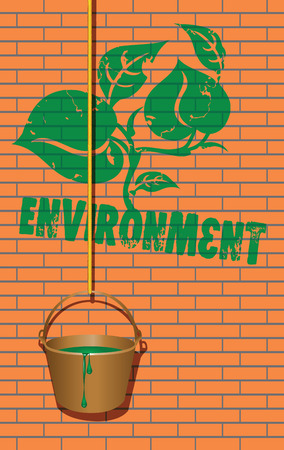 Symbol of the environment caused green paint on the wall of the house. Vector illustration. Çizim